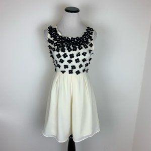 ASOS Lipsy London NWT 3D Floral Dress Cream Black